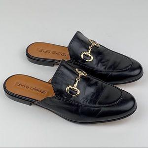 Andre Assous Black Leather Loafer Slides